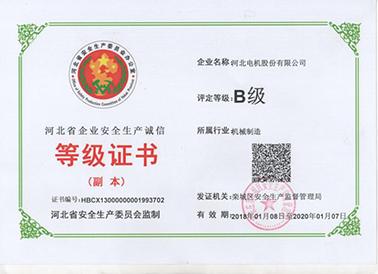 河北省企业安全生产诚信等级证书(正本)2020.1